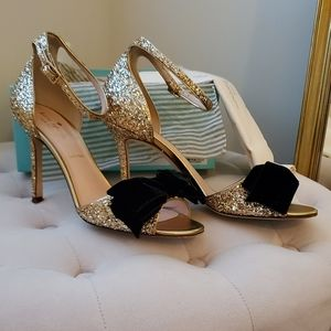 Kate Spade gold glitter bow ankle strap heels 8